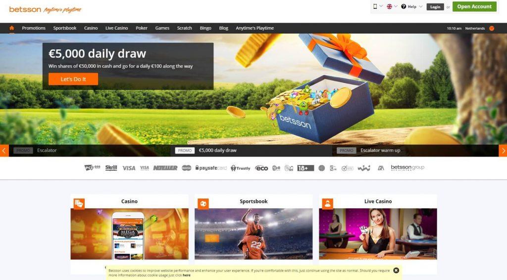 Betsson Casino Review - de homepage
