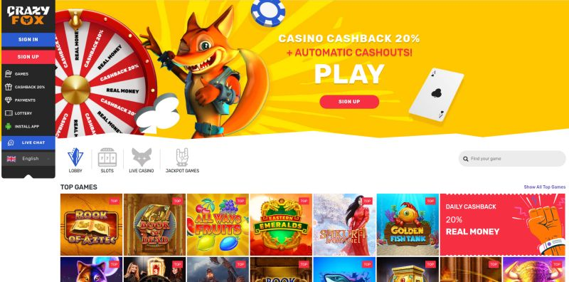 OnlineCasino.nl casino review Crazy Fox homepage screenshot april 2020