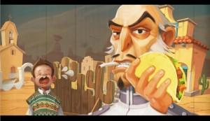 De gemene kapitein Diaz steelt een taco van een kind