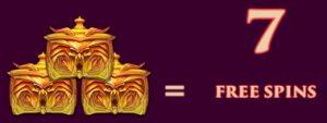 Drie van deze symbolen leveren 7 gratis spins op