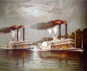 Een schilderij van twee Mississippi Steamers