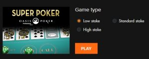 Een variant van online poker in het casino is Super Poker