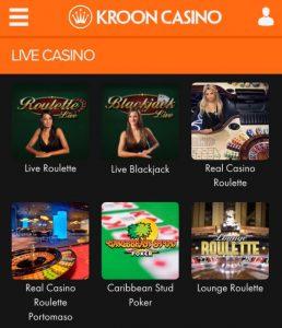 Enkele spellen in een mobiel live casino