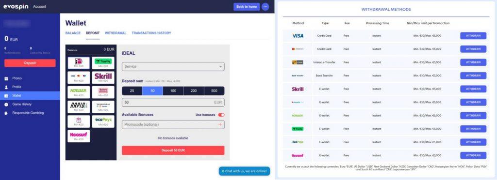 onlinecasino.nl Evospin betaalmogelijkheden storten en uitbetalen