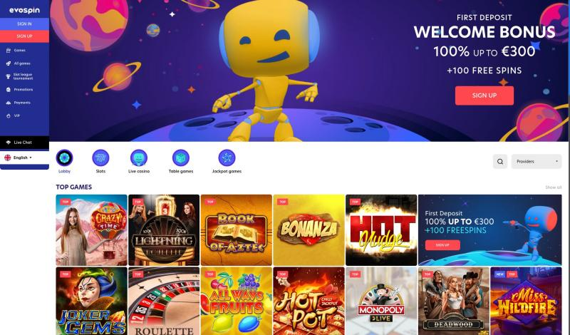 OnlineCasino.nl Review Evospin casino - screenshot homepage april 2021