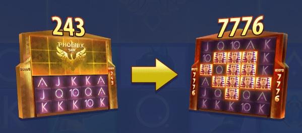 Het speelscherm kan zich uitbreiden van 3x5 tot 6x5 rollen