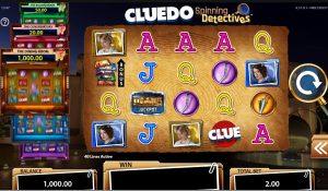 Het speelscherm van Cluedo Spinning Detectives