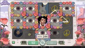 Het speelscherm van de Jimi Hendrix videoslot