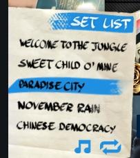 Guns N Roses gamereview - set list