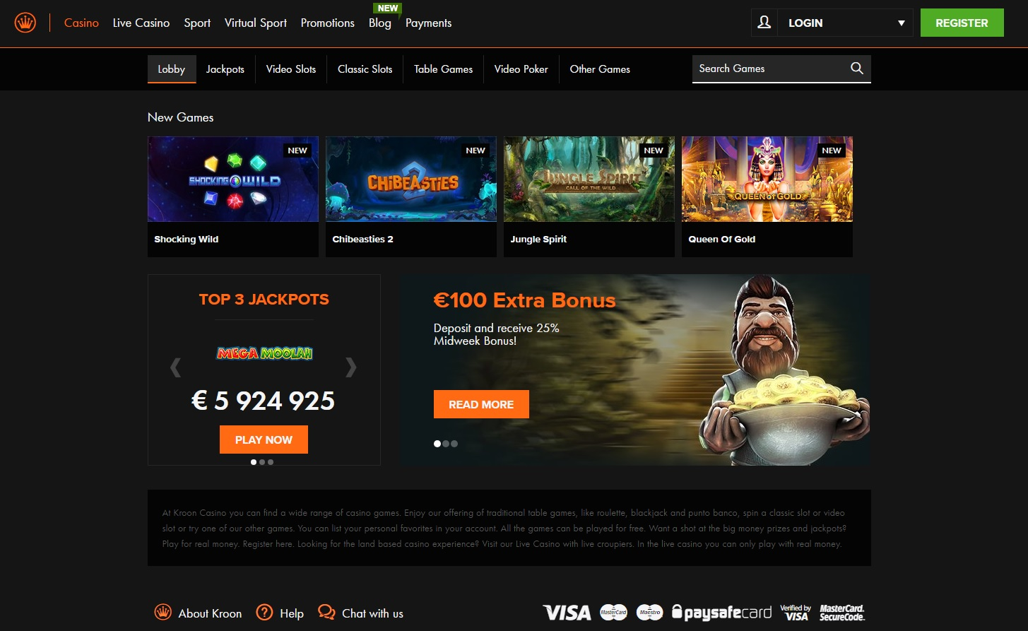 Kroon Casino review - de homepage
