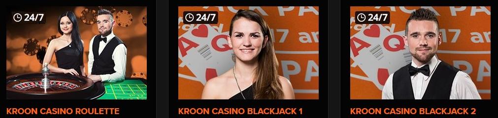 Live casino spellen bij Kroon Casino