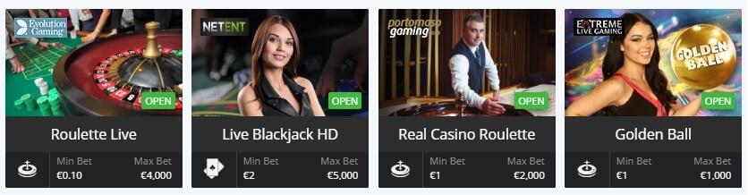 Live casino spellen bij Betsson