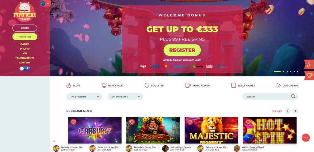 Maneki Casino homepage
