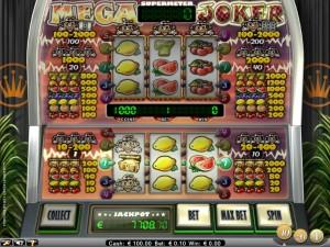 Mega Joker kun je gratis spelen in 't online casino