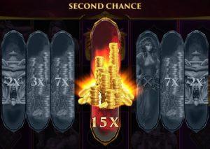 Met de Second Chance-functie kies je een van de zeven zonden in de hoop een derde Scatter te ontvangen