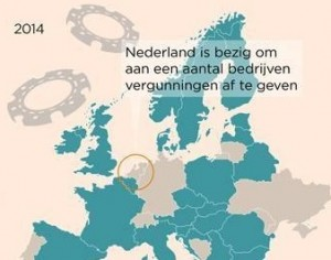 Nederland is bezig om een aantal bedrijven vergunnigen af te geven