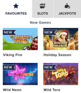Overzicht spellen mobiel CasinoEuro