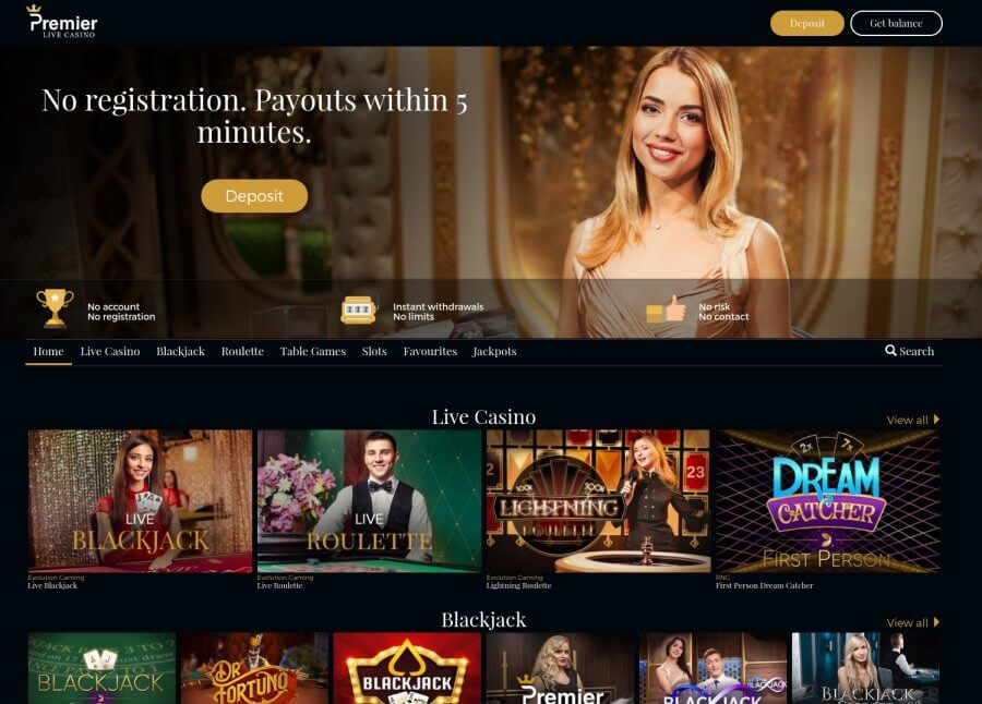 OnlineCasino.nl casino review Premier Live Casino homepage screenshot