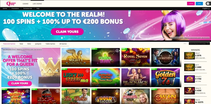 OnlineCasino.nl review Queenplay casino homepage screenshot november 2020