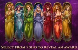 Selecteer een van de 7 Sins om een beloning te ontdekken
