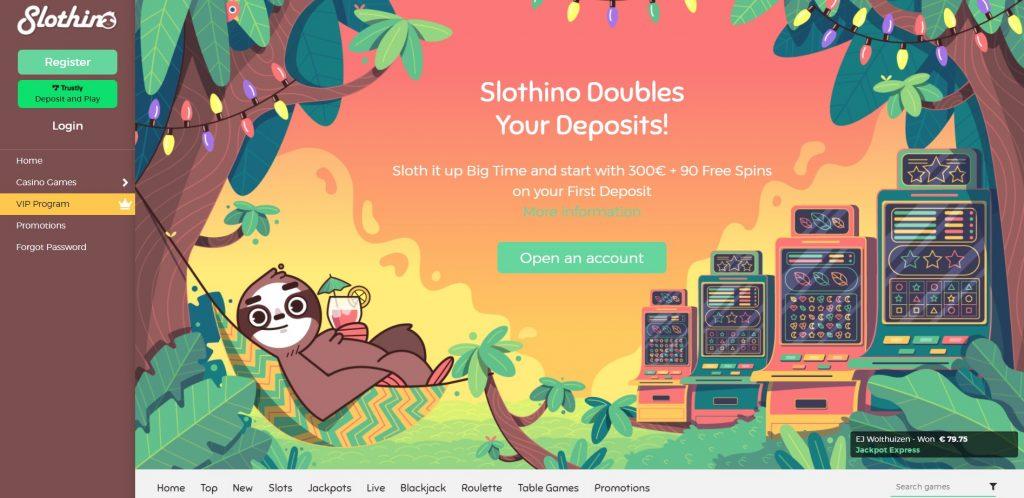 Slothino casino homepage