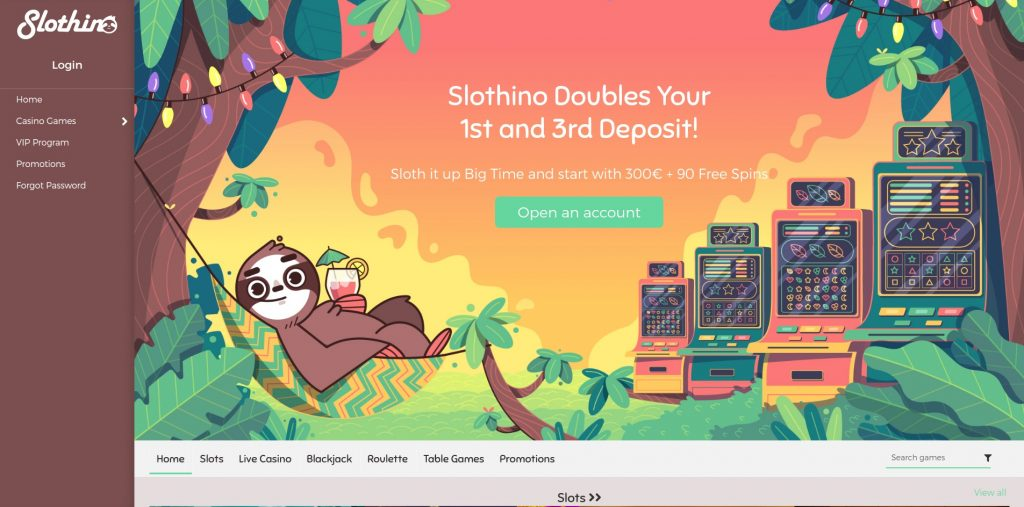 OnlineCasino.nl review Slothino Casino homepage screenshot november 2020