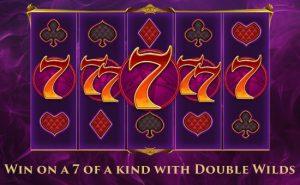 Win met 7 gelijken door de dubbele wildsymbolen