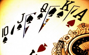 Zo ziet een Royal Flush bij poker eruit