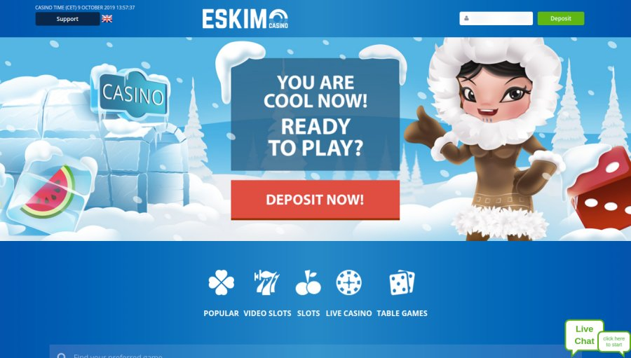 OnlineCasino.nl casino review Eskimo Casino homescreen screenshot