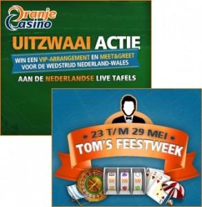 Tom's Feestweek met bonus, acties, toernooien bij Oranje Casino
