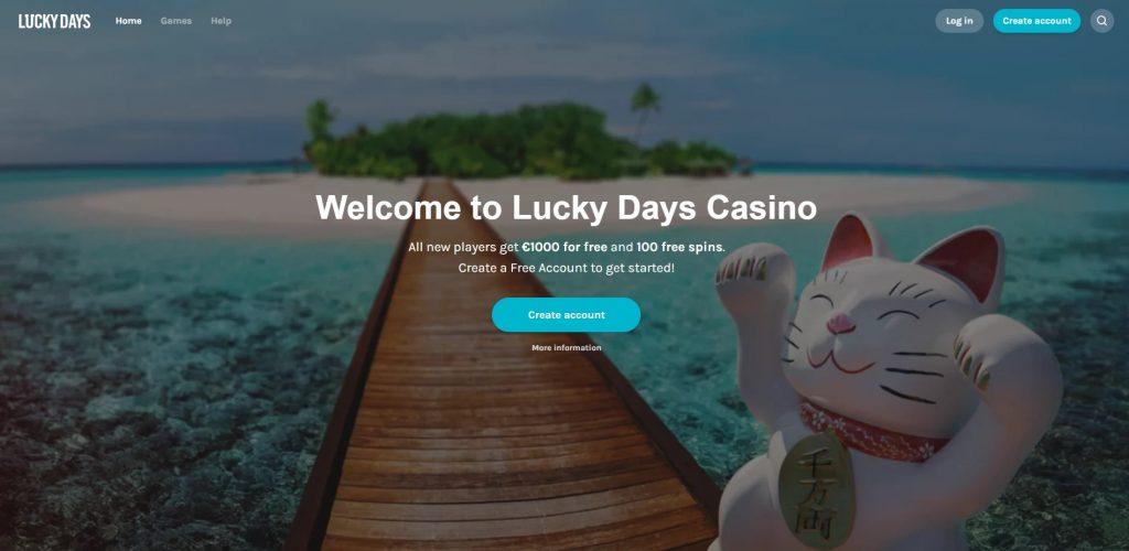 Lucky Days casino homepage