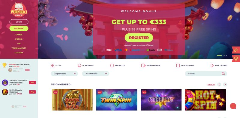 onlinecasino.nl review Maneki casino homepage screenshot april 2020