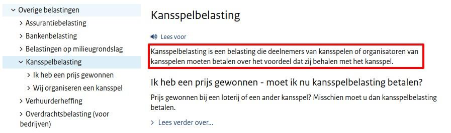 onlinecasino.nl schermafbeelding belastingdienst kansspelbelasting pagina