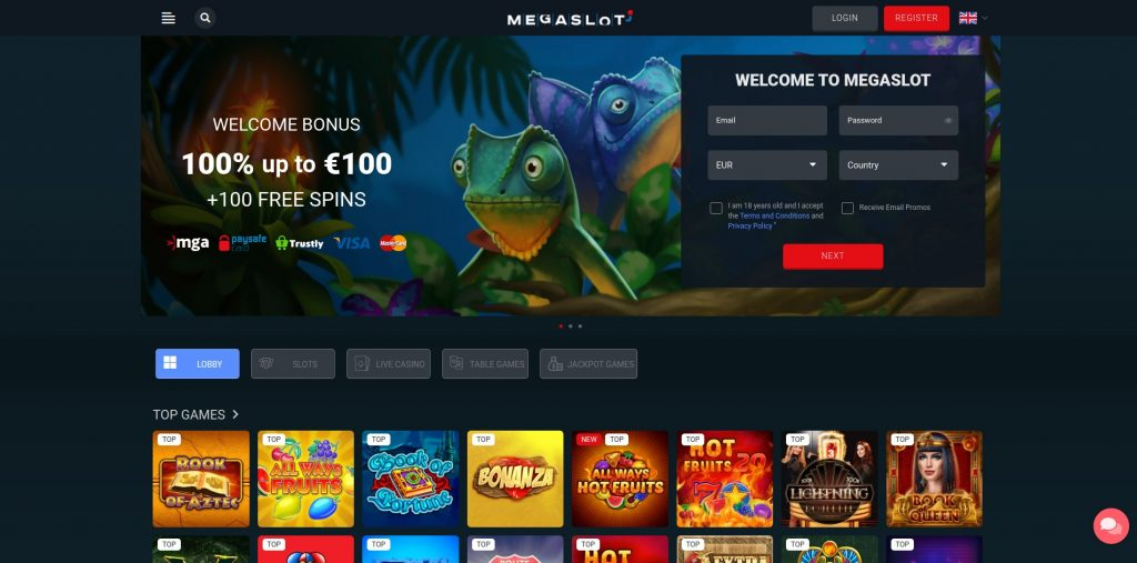 onlinecasino.nl review megaslot homepage screenshot oktober 2020