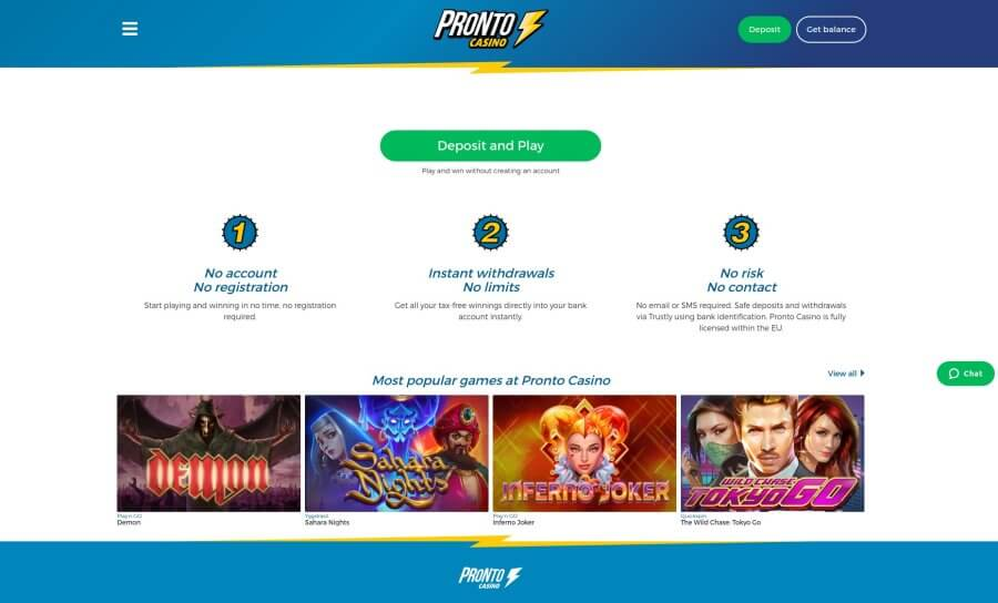 onlinecasino.nl casino review Pronto Casino screenshot homepage