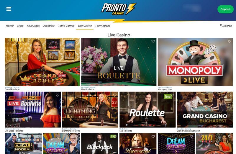 onlinecasino.nl pronto casino afbeelding aanbod live casino spellen
